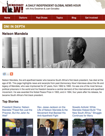 Democracy Now!: In-depth coverage of Nelson Mandela